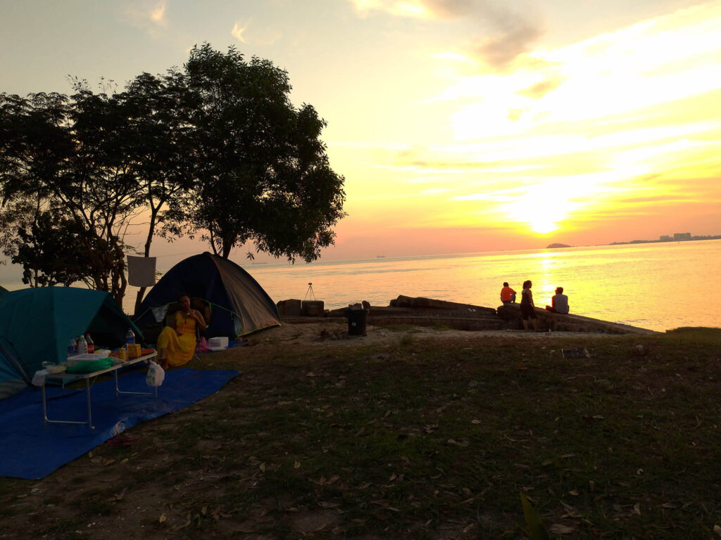 Campsite view at dawn