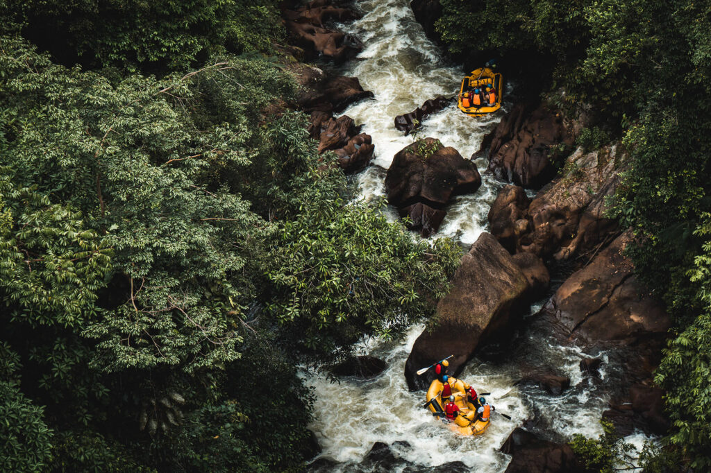 Top view of 2 rafts on the river