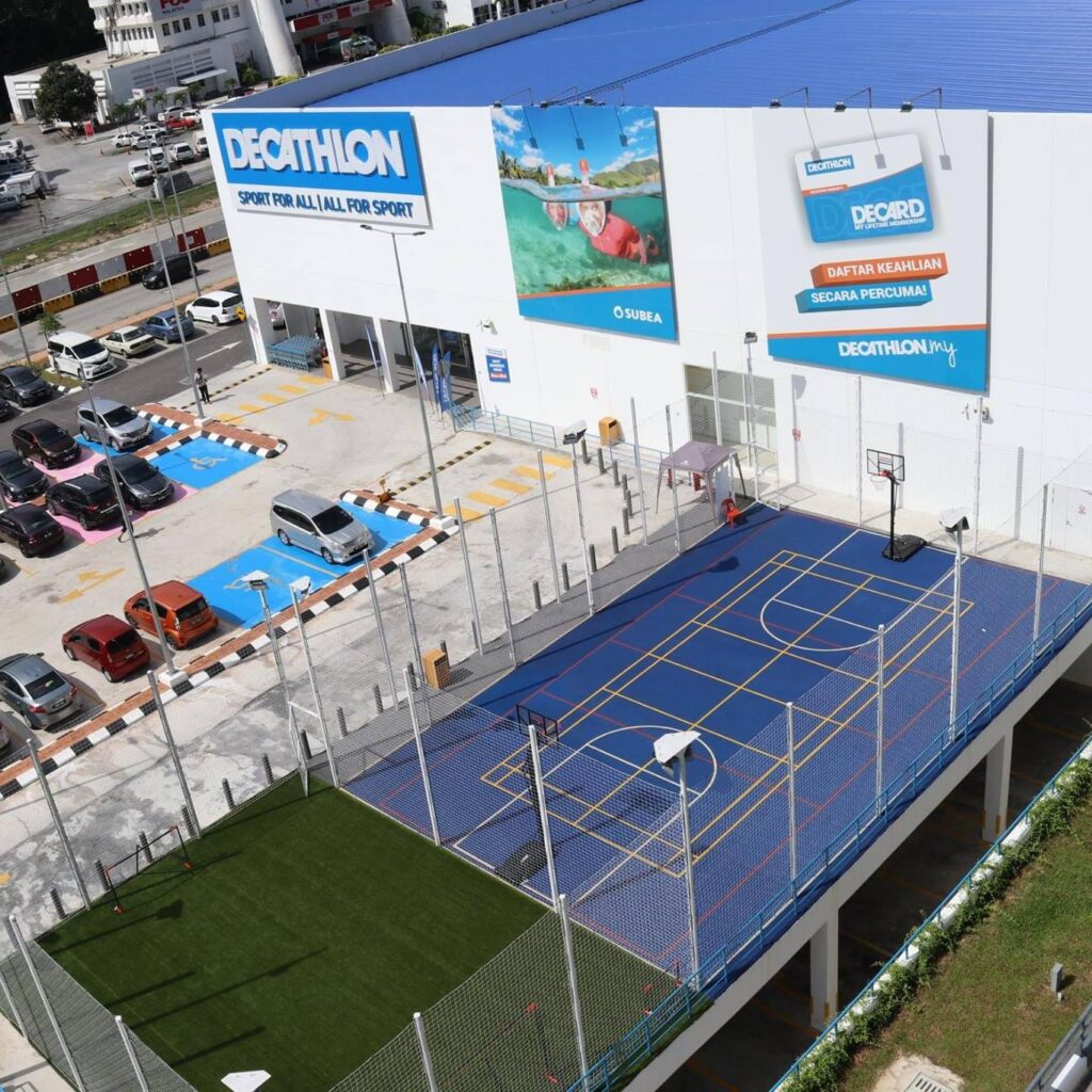 eagle eye view of decathlon store in malaysia