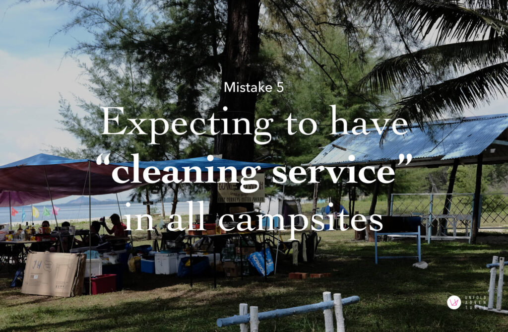 expecting to have cleaning service in all campsites