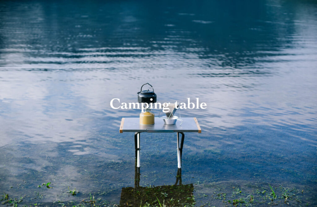 foldable table at the river side