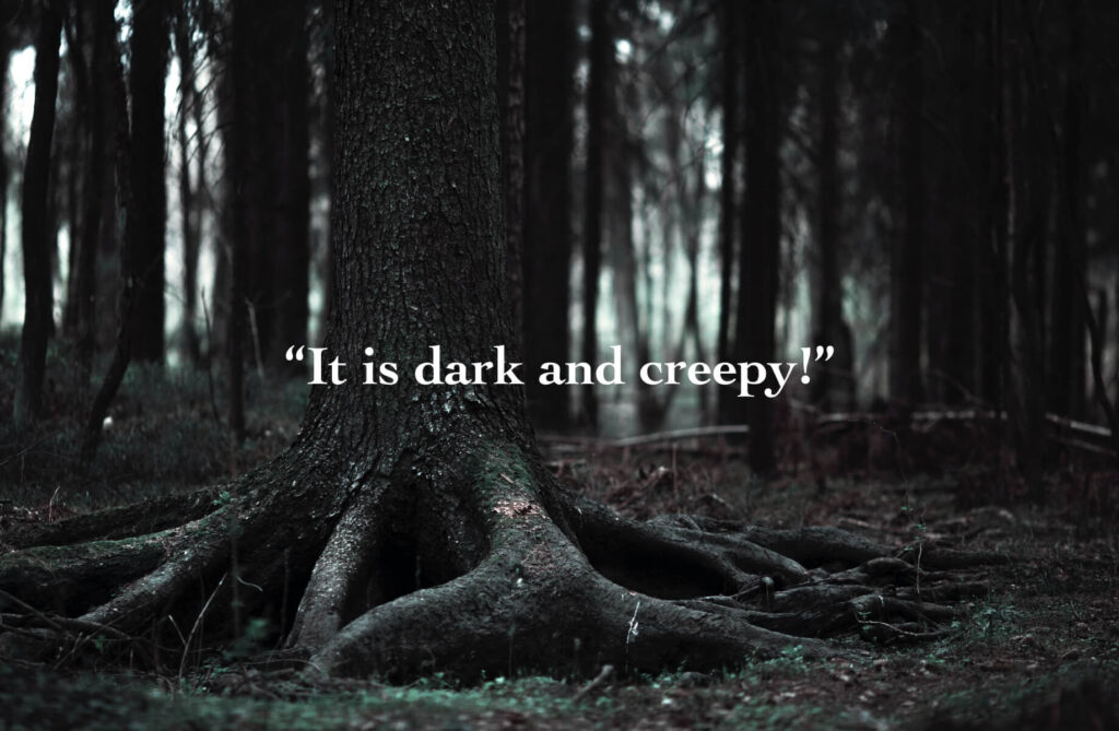 it is dark and creepy