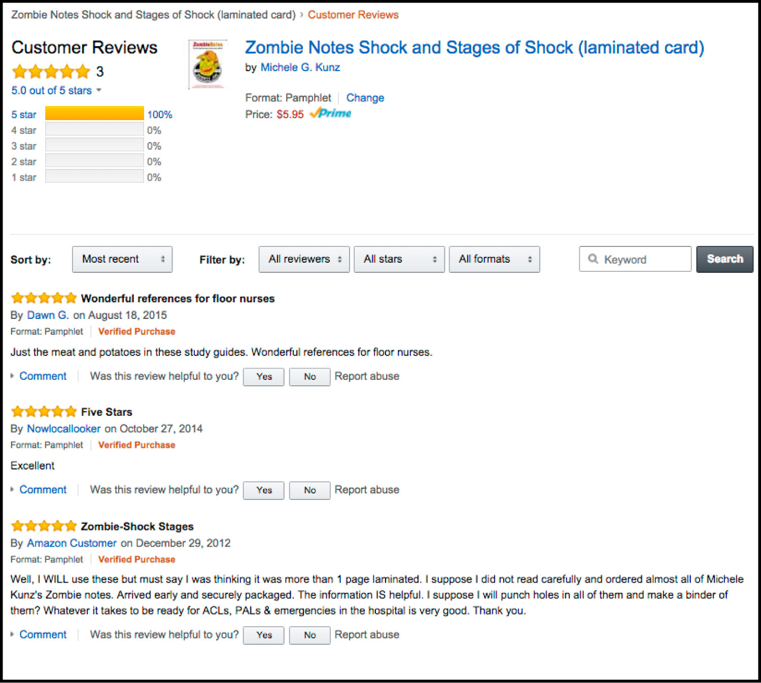 Amazon Reviews For Shock And Stages Of Shock Zombie Notes Study Chart