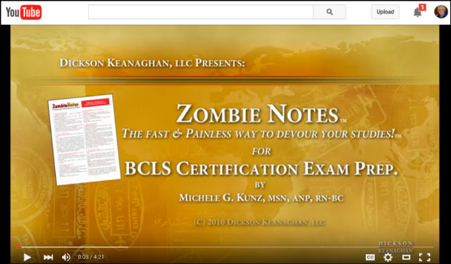 YouTube Video Of Zombie Notes BLS / BCLS Certification Exam Prep. Study Chart