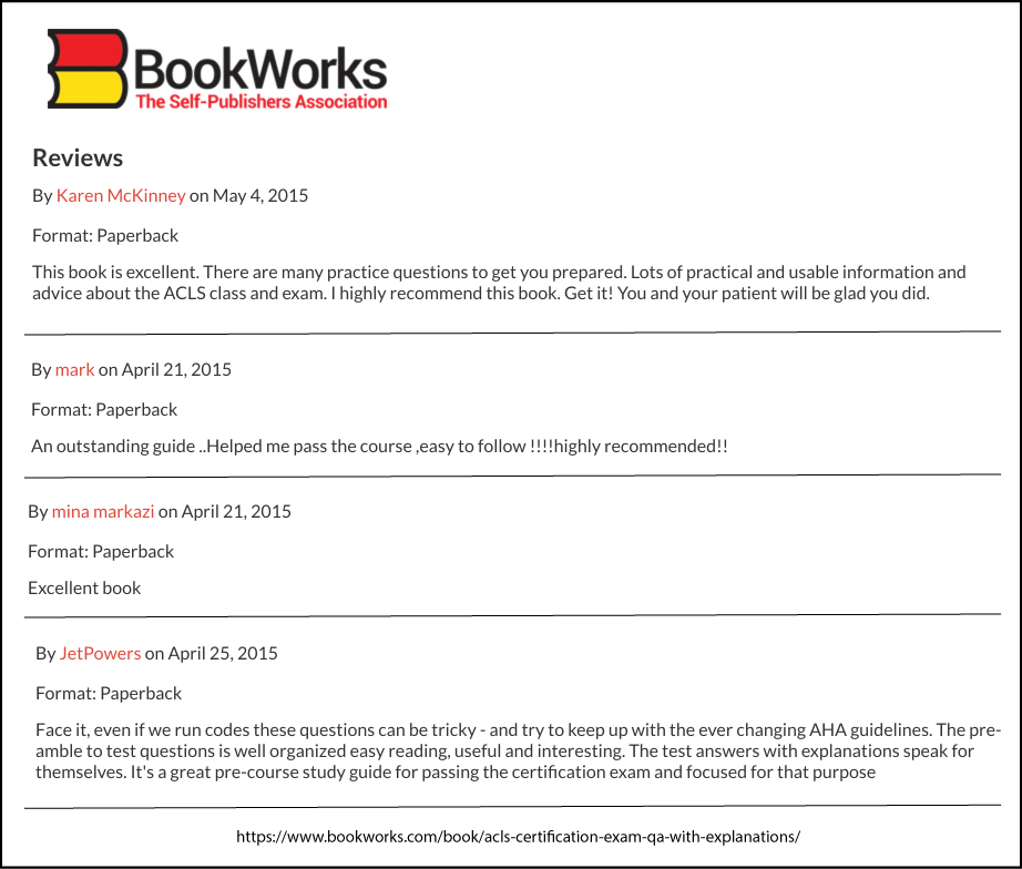 Book Reviews from BookWorks.com for ACLS Certification Exam Q&A With Explanations