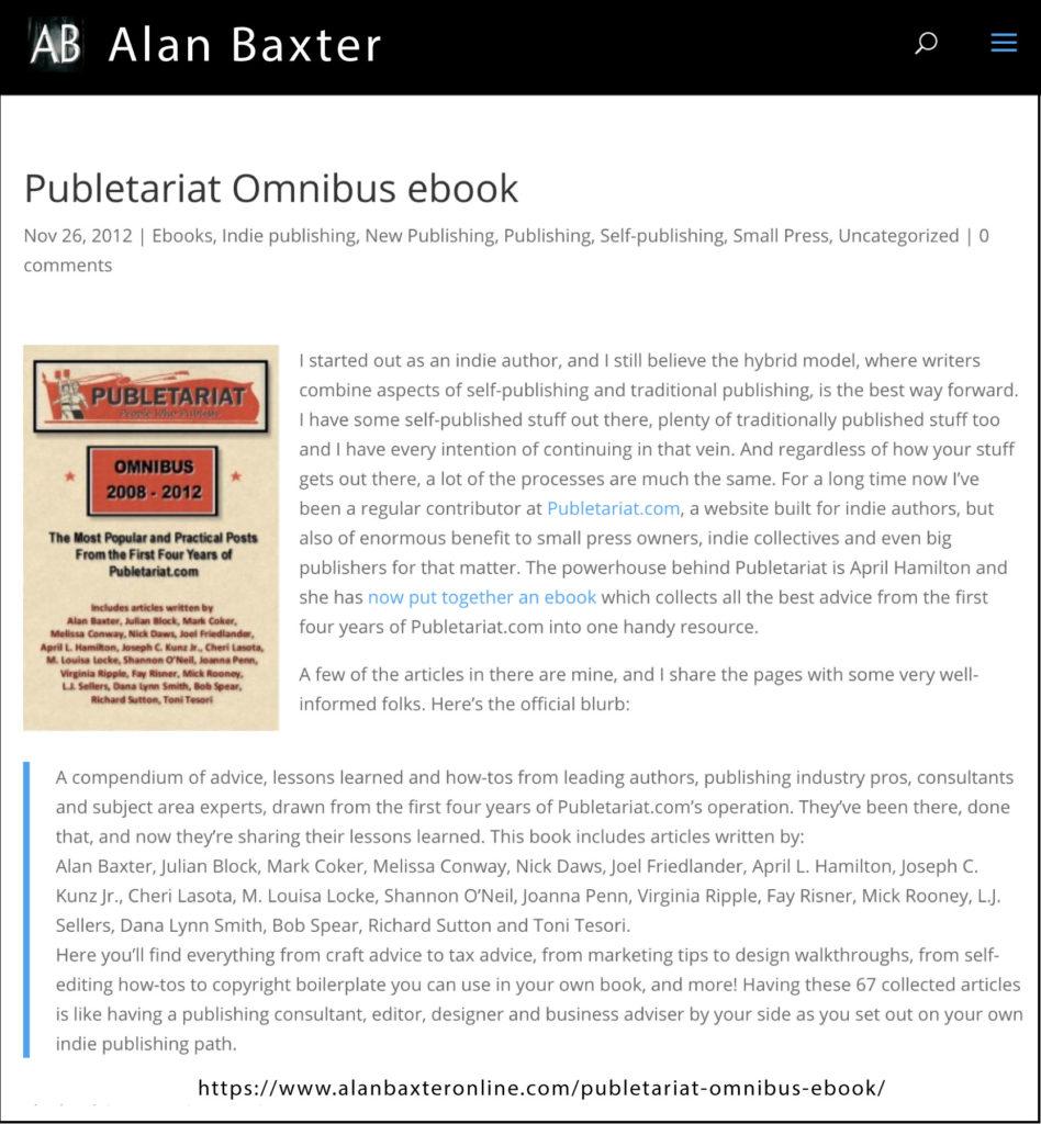 Publetariat Omnibus ebook, Alan Baxter