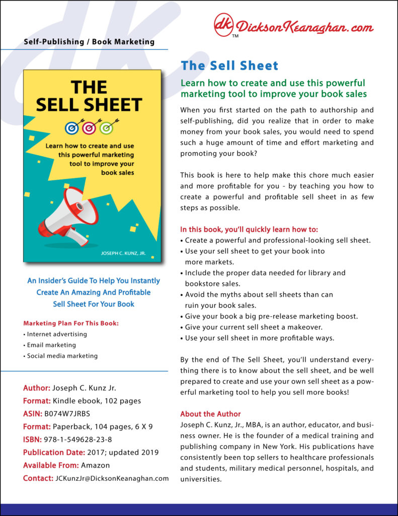 Sell Sheet For The Sell Sheet Book 2019