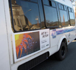Cammy Davis Art on Bus in Grants Pass, part of Art in Motion