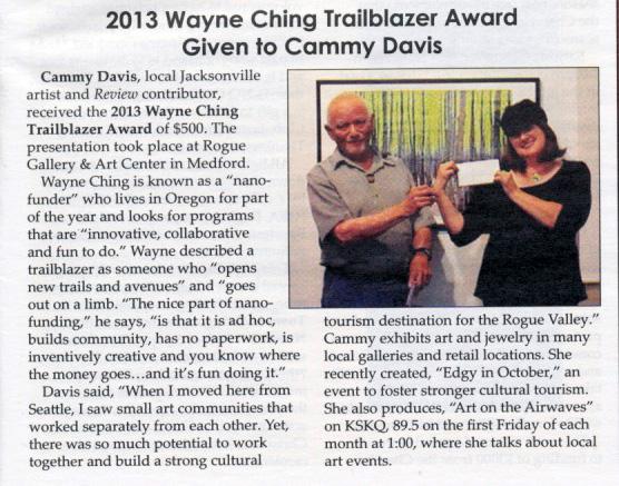 2013 Wayne Ching Trailblazer Award to Cammy Davis