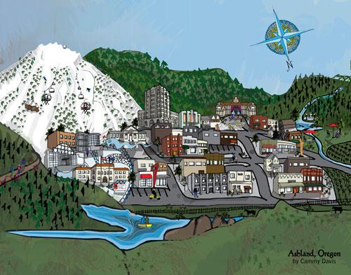 Artistic Map of Ashland, Oregon by Cammy Davis, Oregon Artist