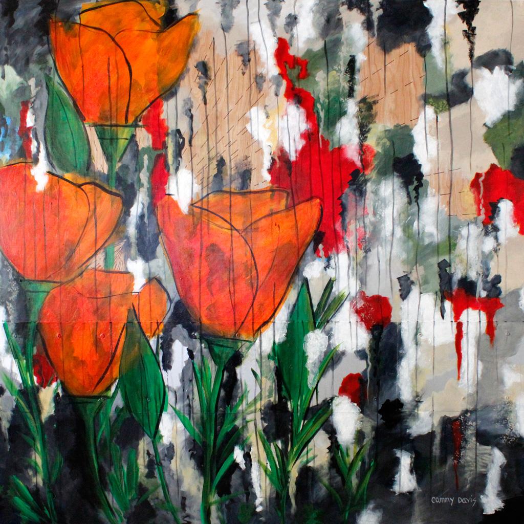 Orange Poppies, Mixed Media Painting by Oregon Artist Cammy Davis