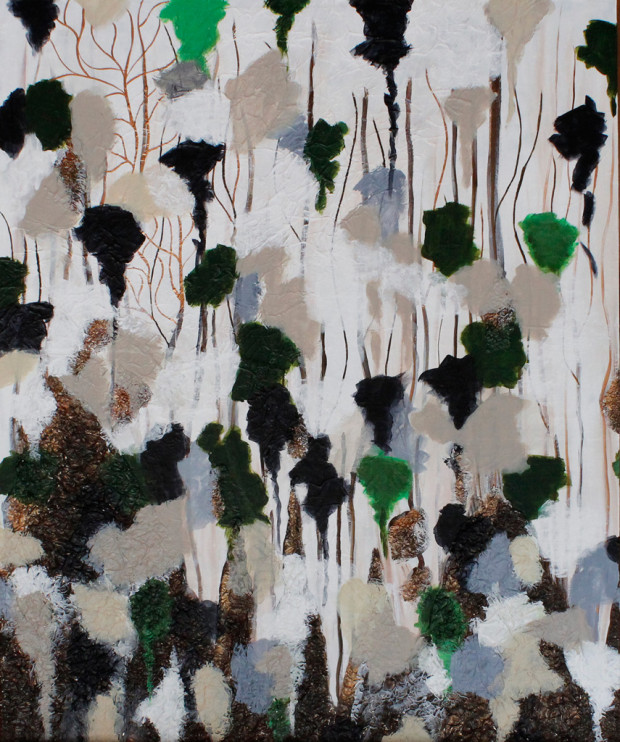 Snow in the Trees, Forest Painted in White, Green, Black, Abstract, Texture
