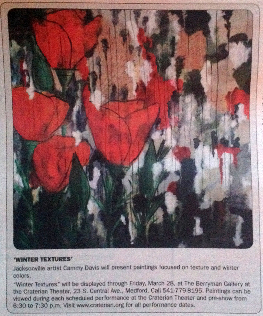 Cammy Davis Art in Medford Mail Tribune Tempo 2-18, Oregon Artist
