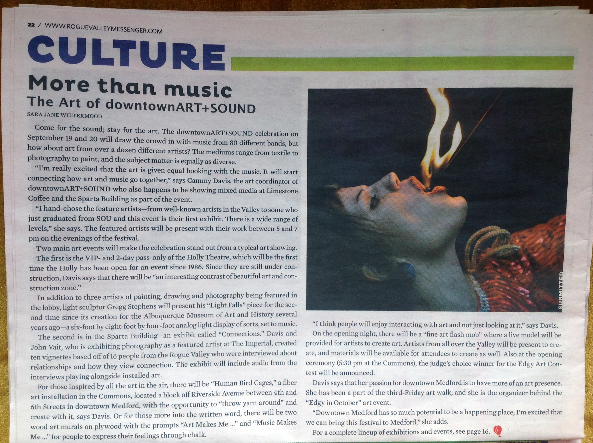Rogue Valley Messenger article with Cammy Davis, Art Director, downtownART+SOUND