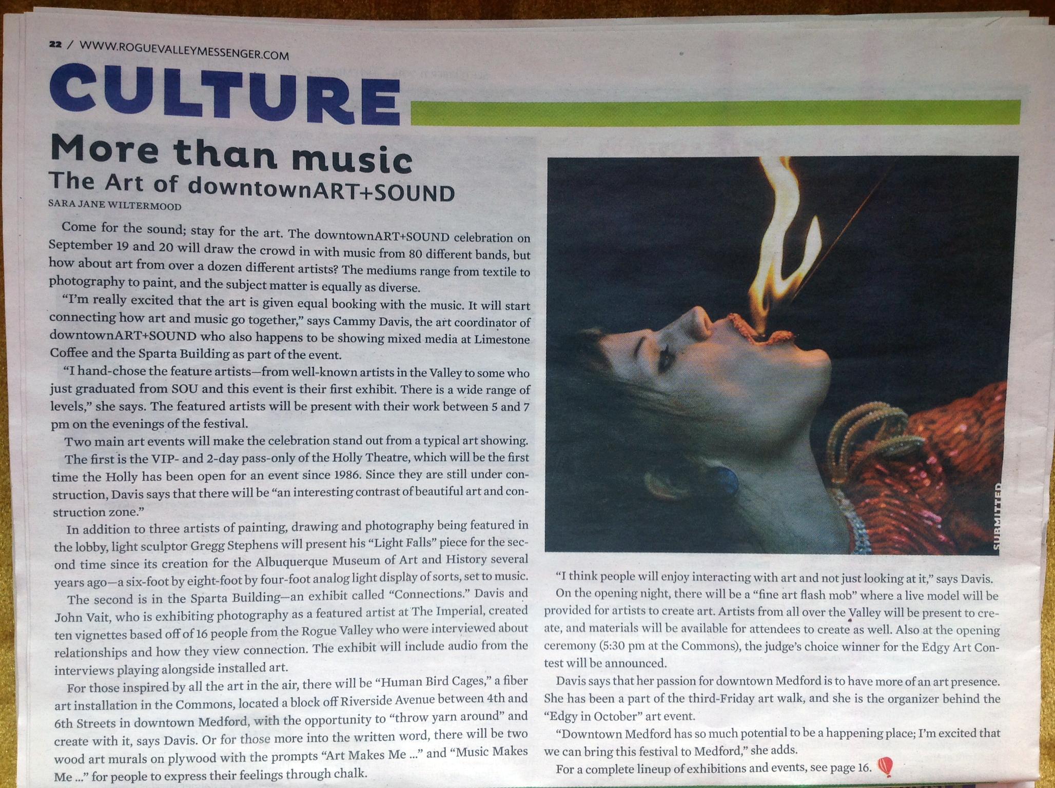 Rogue Valley Messenger article with Cammy Davis, Art Director, downtownART+SOUND