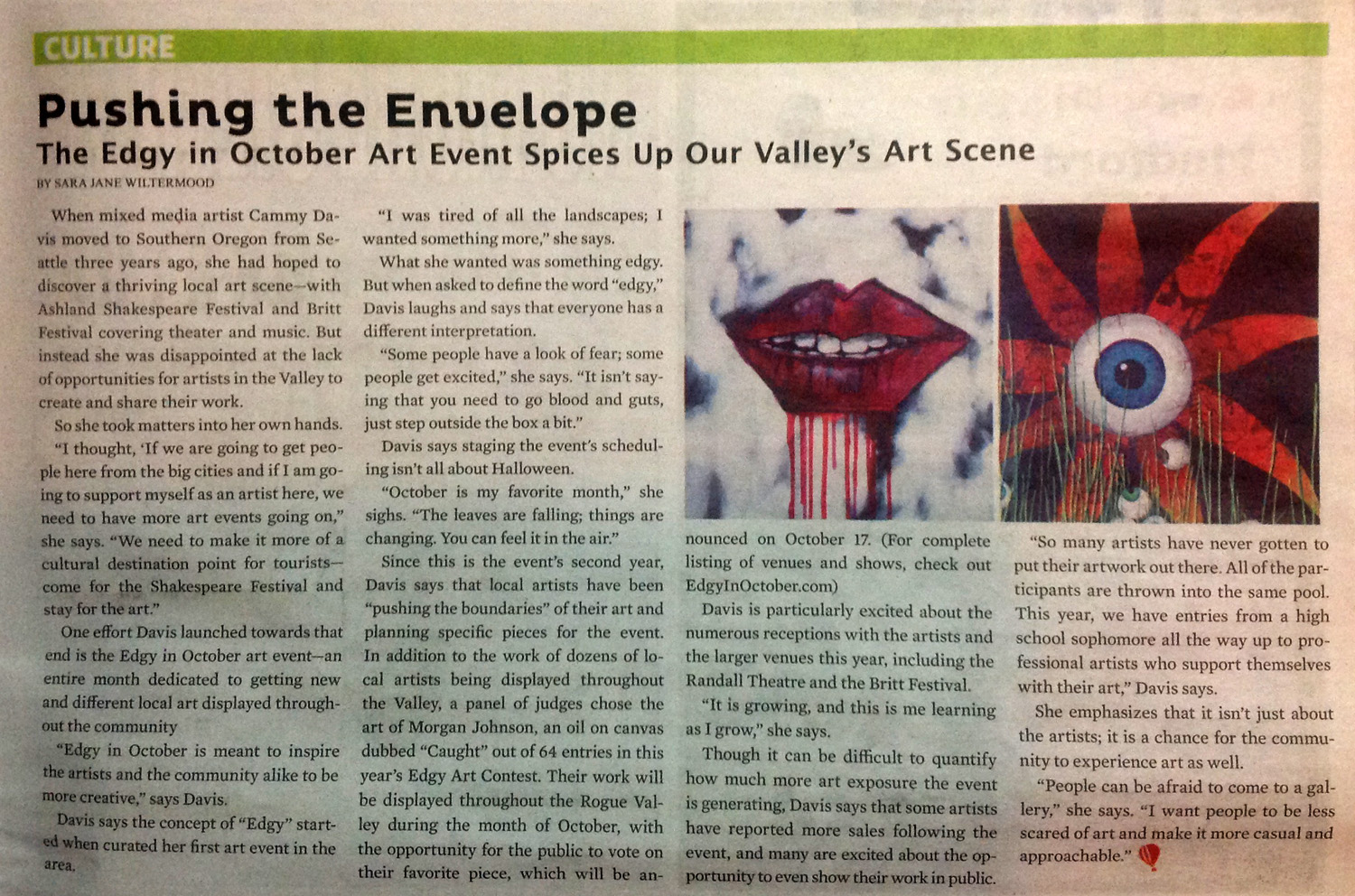 Rogue Valley Messenger Article about Cammy Davis and Edgy in October