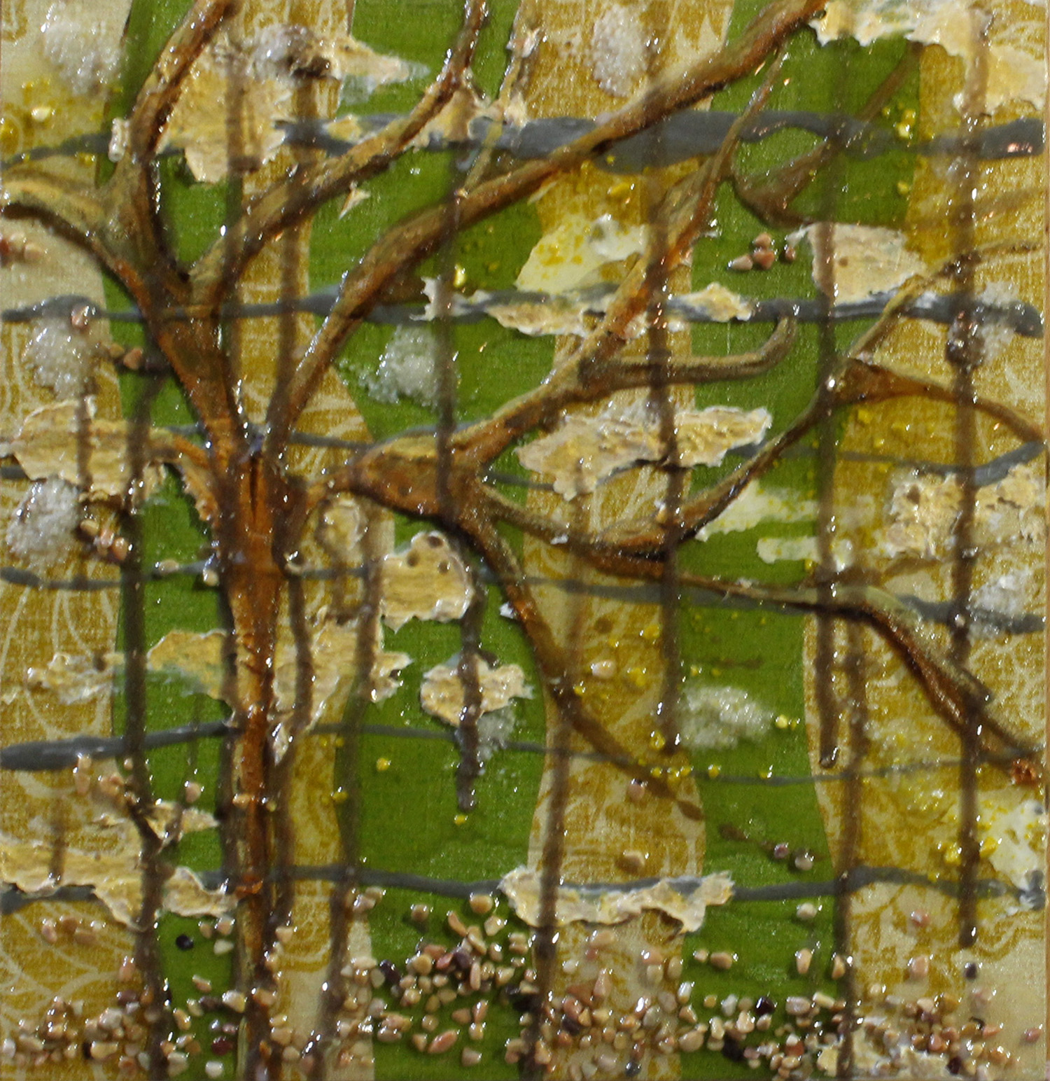 Mixed Media with small rocks, sand, wallpaper, resin, tree and earth