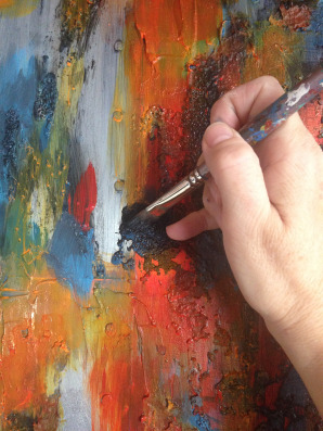 Loose brushstrokes, Bright Colors, Modern Painting, Acrylic and Texture