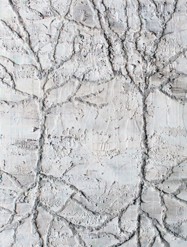 Contemporary Art, Painting, White on White, Texture, Trees