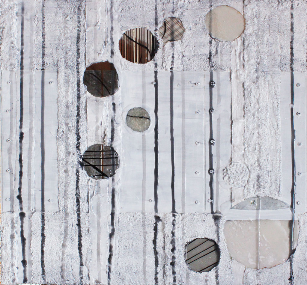 Contemporary Art by Southern Oregon Artist with Geometric Shapes and Resin Rain