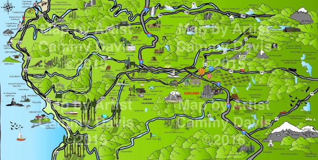 Artistic Map from Ashland, Oregon Day Trips of Ashland Oregon and surrounding areas