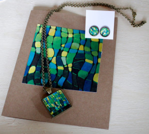 Retro-Waves Necklace, Art Jewelry by Cammy Art
