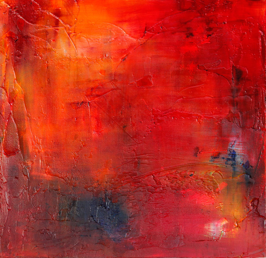 Mixed Media with Red, loose Brushstrokes