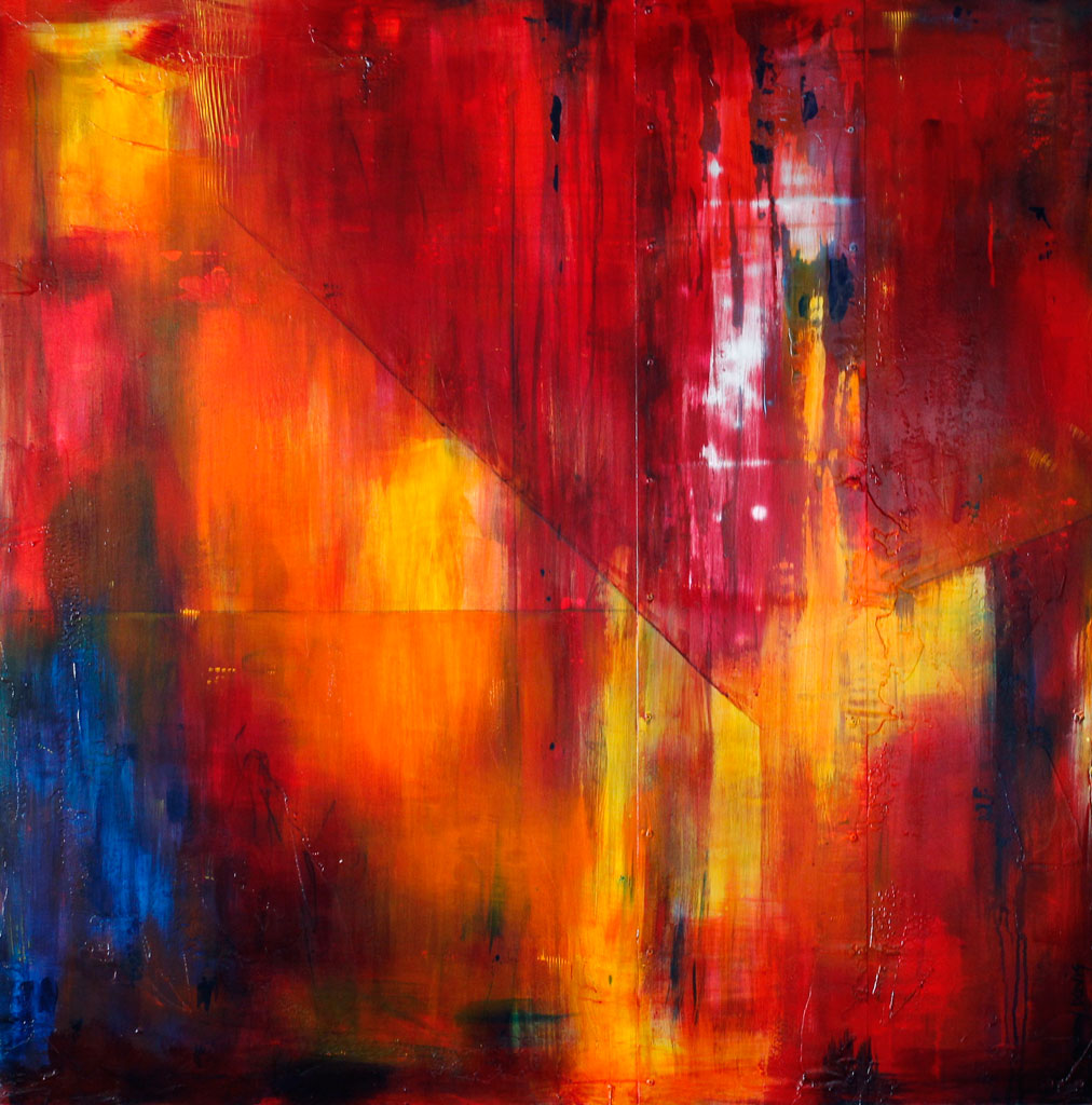 Red, Yellow, Loose Brushstrokes, Large Scale, Mixed Media, Emotion in Art, Abstract Expressionism