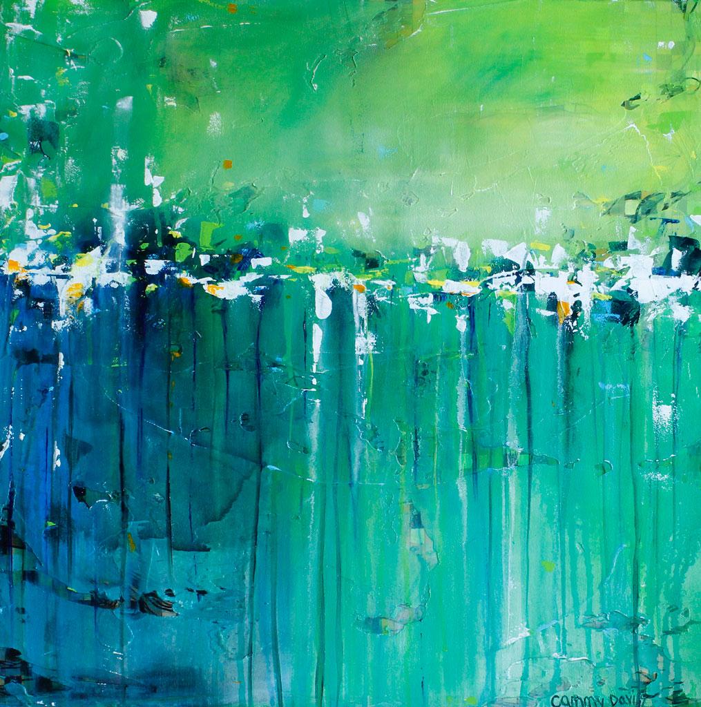Mixed Media, Contemporary, Art, Dripping, Green, Garden, Morning