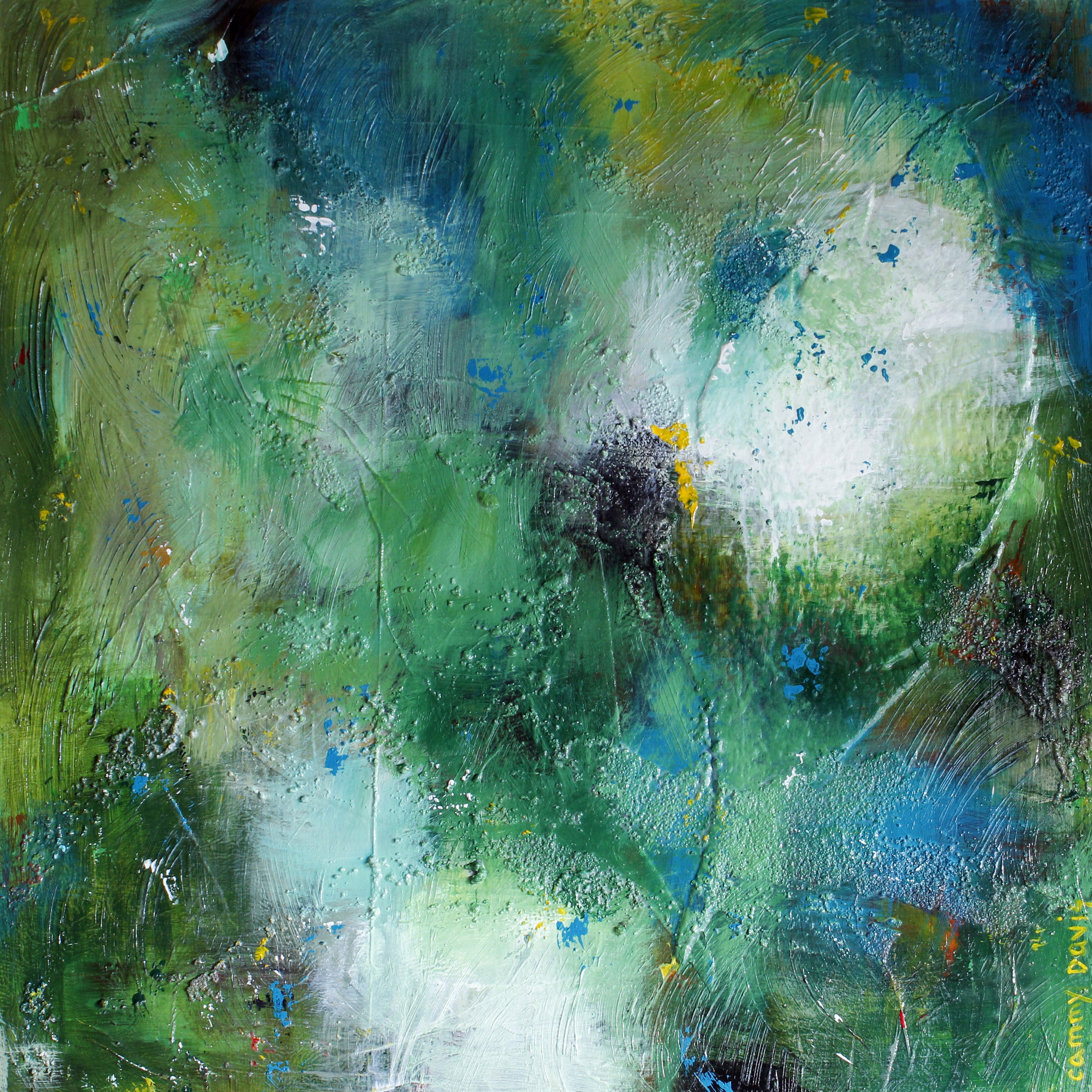 Abstract, Contemporary Art, Oregon Artist, Blue, Green, Loose Brushstrokes, Texture