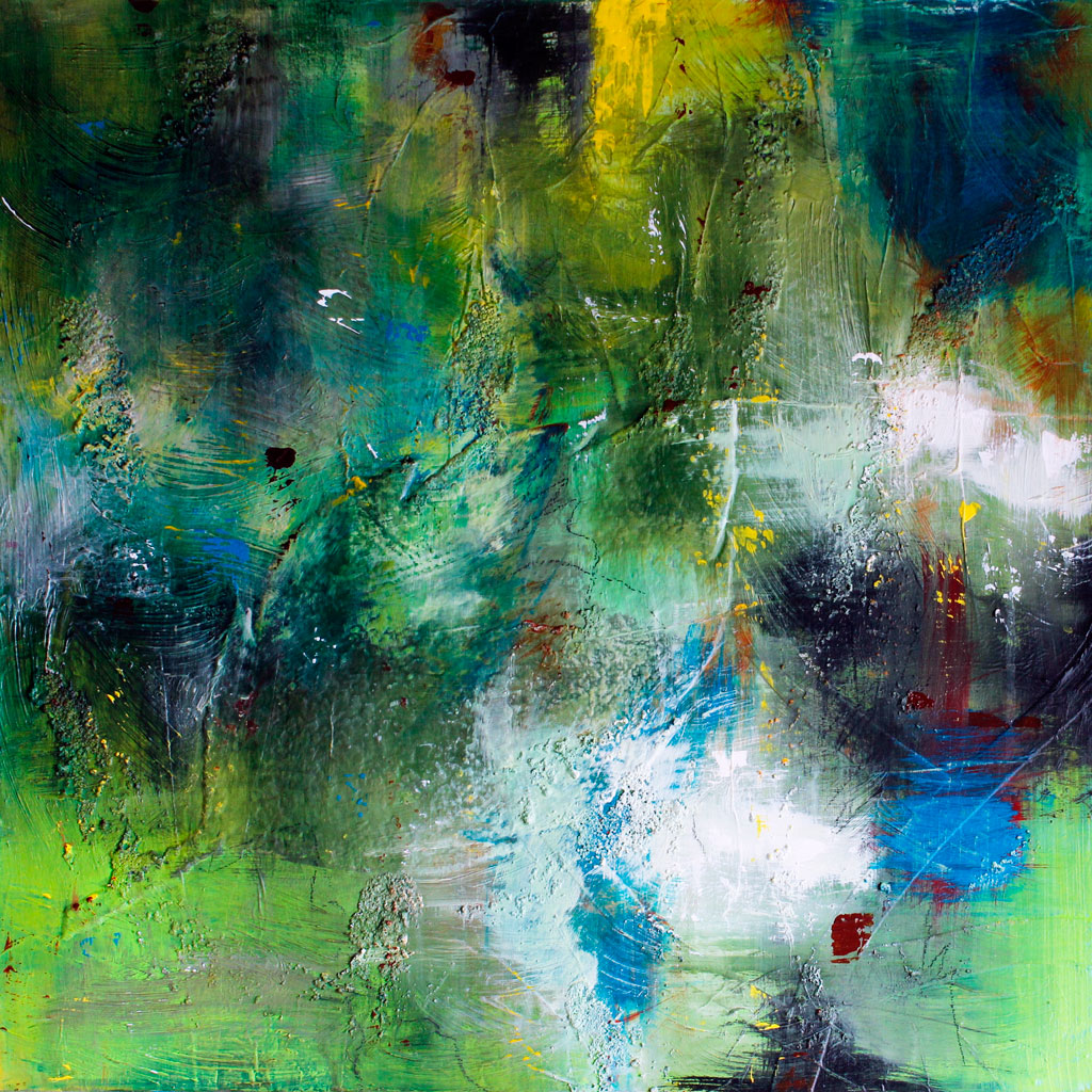 Contemporary, Art, Abstract, Fine, Emotions, Texture, Blue, Green