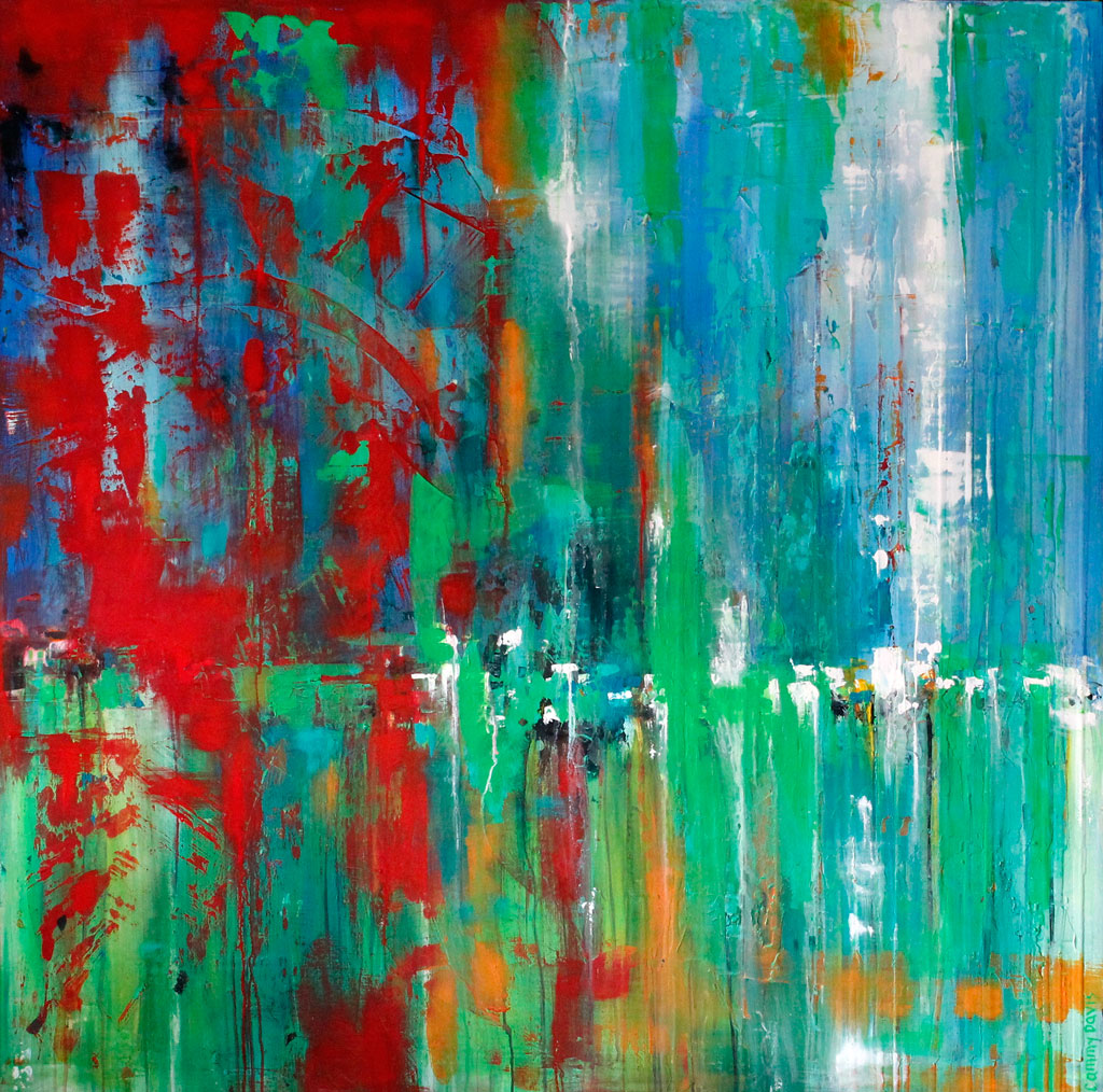 Original Art, Loose Brushstrokes, Blue, Red, Green, Dripping, Contemporary, Emerging Artist