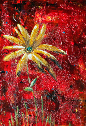 New Painting, Abstract, Floral Art, Yellow, Flower, Red