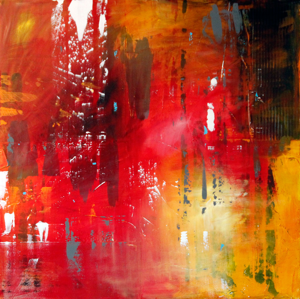 Red, Yellow, Loose Brushstrokes, Abstract Expressionism, Abstract