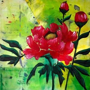 Chinese Brush Painting, Peonies, Peony, Pink, Flower, Bright, Loose Brushstrokes