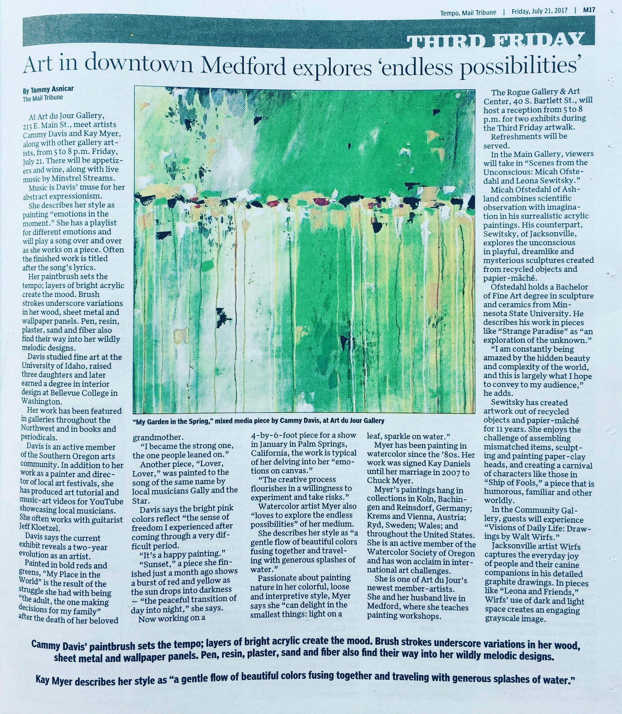 Cammy Davis, Art du Jour, Medford's Third Friday, Art Walk
