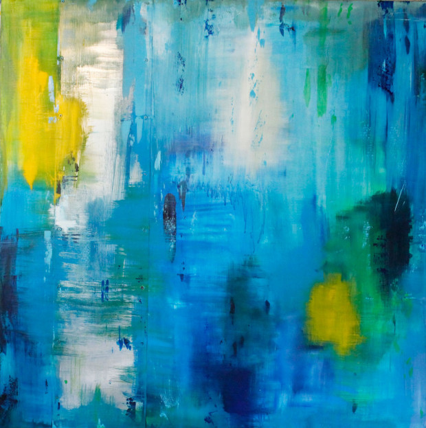 Art to Music, Live Painting, Jeff Kloetzel, Blue, Abstract Expressionism