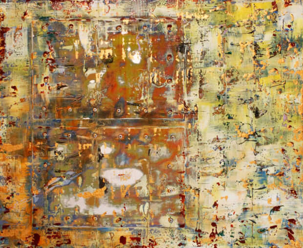 Yellow, Brown, Metal, Abstract Experessionism