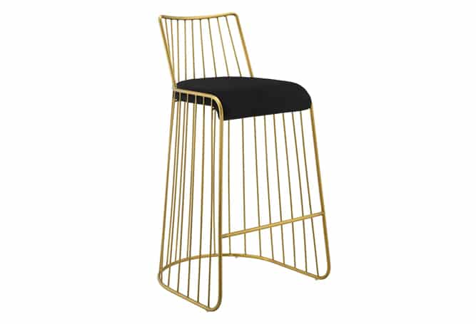 Rivu Bar Stool - Gold/Blk