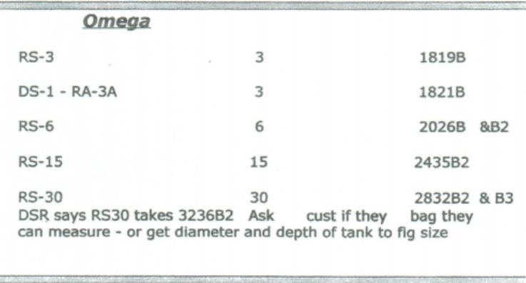 Omega Solvent Bag Sizes