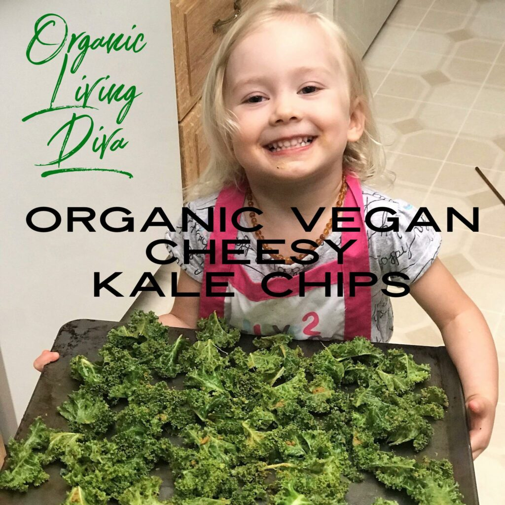 Organic Vegan Cheesy Kale Chips about to bake