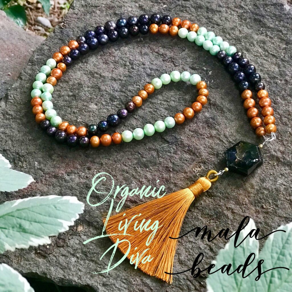 108 Mala bead necklace with colored fresh water pearls, faceted hexagon chocolate tourmaline and