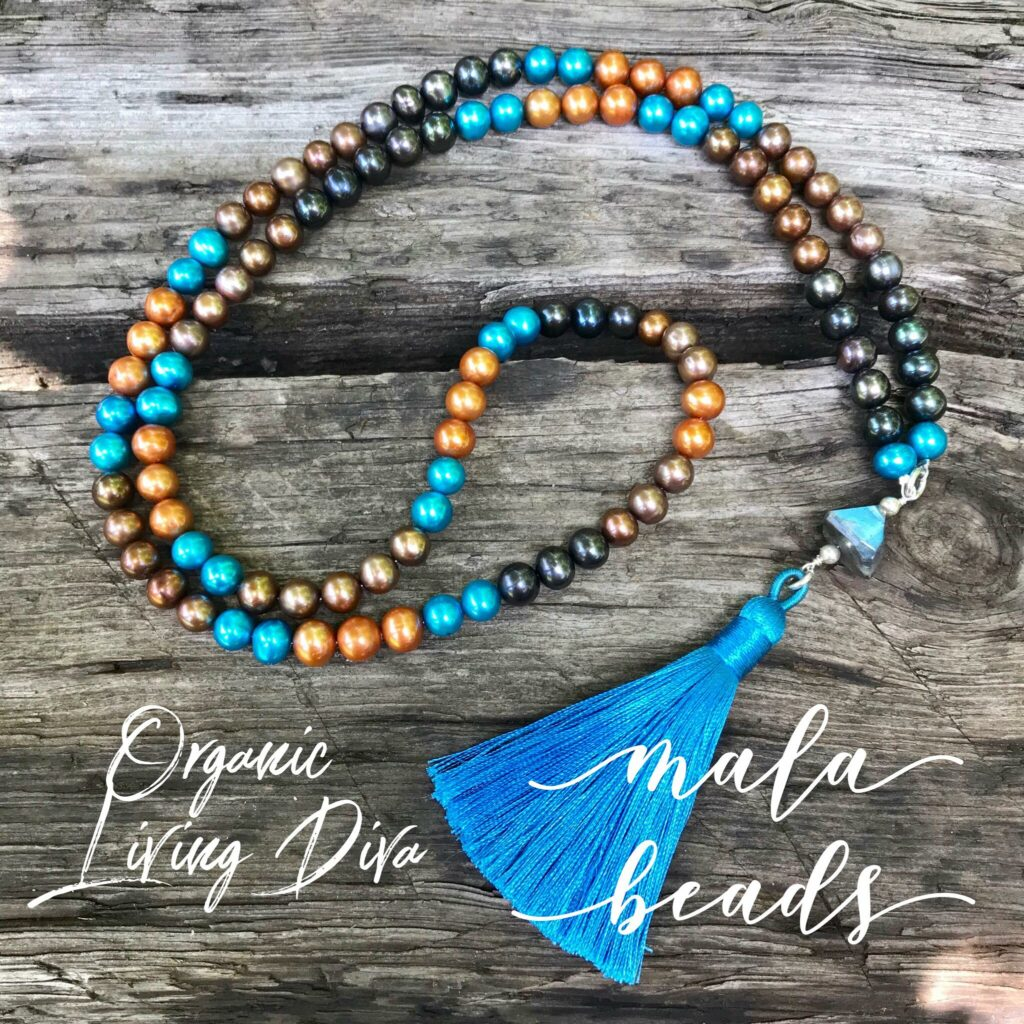 108 Mala bead necklace with colored fresh water pearls, facted labradorite nugget and turquoise tassel.