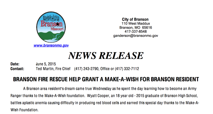 BRANSON FIRE RESCUE HELP GRANT A MAKE-A-WISH FOR BRANSON RESIDENT
