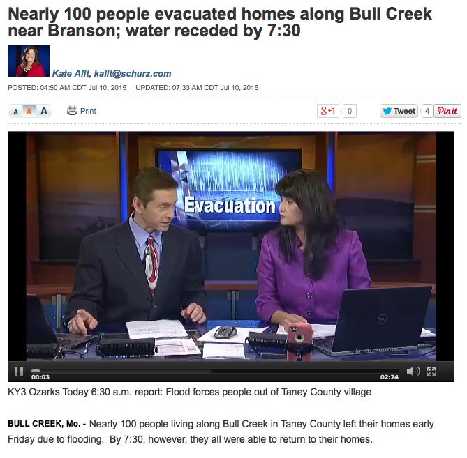 Nearly 100 people evacuated homes along Bull Creek near Branson