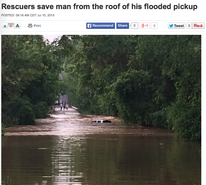 Rescuers save man from the roof of his flooded pickup