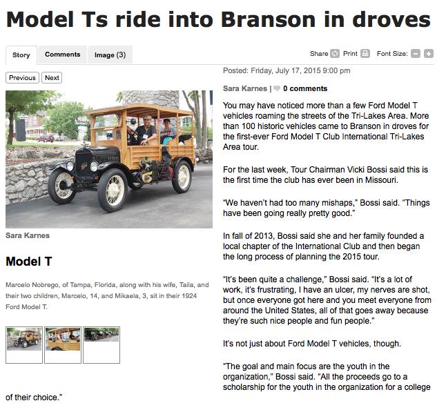 Model Ts invade Branson