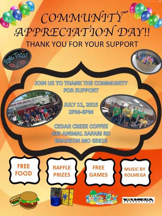 Community Appreciation Day at Cedar Creek Coffee