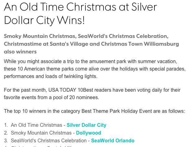 """Silver Dollar City has been named the """"Best Holiday Event"""" in the land by USA Today!"""