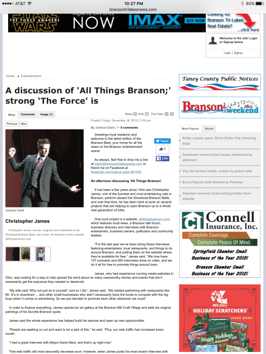 All Things Branson in the News